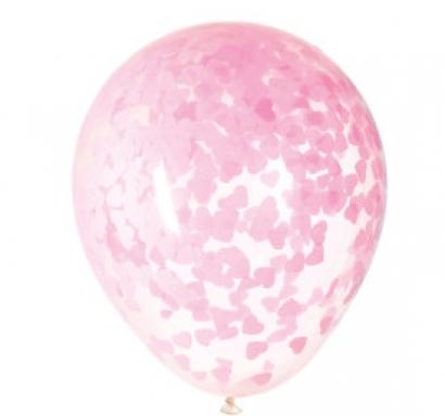 Прозрачен балон с розови конфети във  форма на сърце  40,6 см диаметър, 5 бр. в пакет