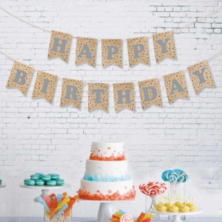 Банер гирлянд за декорация - крафт картон и сребърни блестящи букви Happy Birthday, 2,50 м дължина