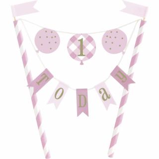 Декорация за торта Първи рожден ден в розово райе / Cake Topper First Birthday Gingham /Gd/