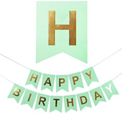 Банер комплект Happy Birthday / Честит Рожден Ден, цвят мента със златни букви