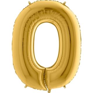 """Фолиен балон цифра 0 цвят злато - 102 см височина /40""""/"""