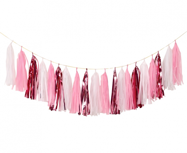 Гирлянд от 20 бр. тасели бебе момиче, лъскави розови и бели цветове, 36х250см /Gd/
