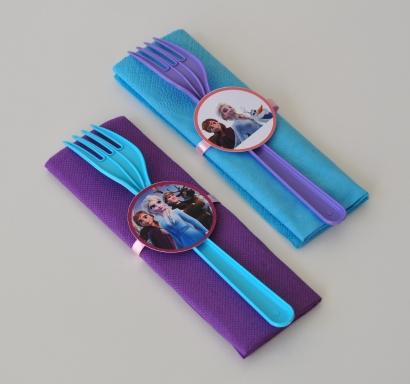 Парти комплект салфетка и виличка Замръзналото Кралство 2 Елза и Ана 33х33 см, 5 бр. пакет