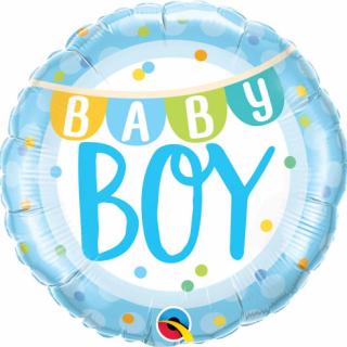 Фолиев балон кръг с надпис Baby Boy / Бебе Момче, 46 см Qualatex, /Gd/
