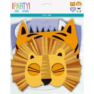 Парти маски Животни, сафари, джунгла, /лъв, зебра, слон, тигър/, 8 бр. в пакет