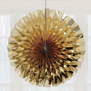 Висяща декорация - ветрило, цвят злато металик, диаметър 40 см