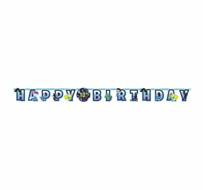 Банер гирлянд за декорация Фортнайт / Battle Royal с текст Happy Birthday, 3,2 м дължина с добавяне на годината  Amscan /Gd/