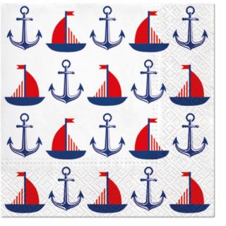 Парти салфетки Морска тема, кораб, котва 33х33 см, 20бр. в пакет /Gd/