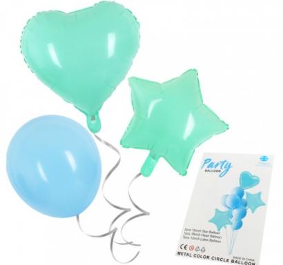 Комплект фолиеви балони Звезда и Сърце и латексови цвят макарон мента и синьо, 10 броя