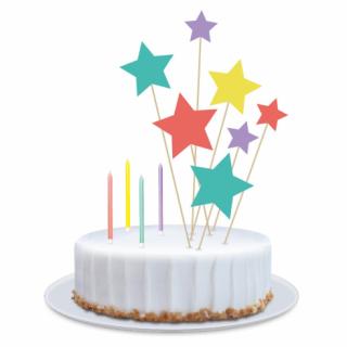 Декорация за торта с 4 свещички, 3 топера звезди 13см и 4 топера звезди 18см /Gd/