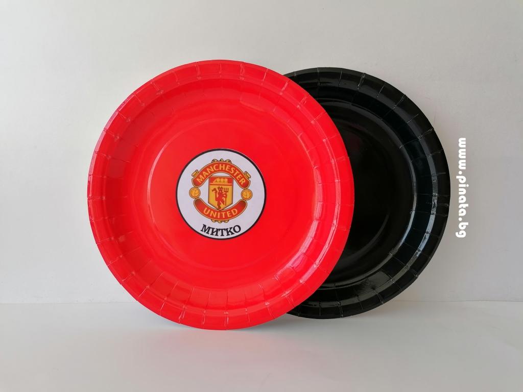 Персонализирана хартиена парти чинийка  Манчестър Юнайтед