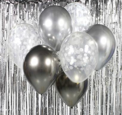 Комплект 7 бр. сребърни балони - едноцветни хром и прозрачни с печат сребърни конфети /Gd/