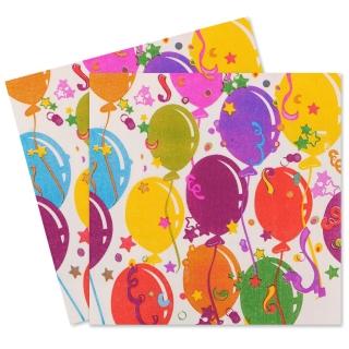 Парти салфетки различни балони, 20 бр в пакет