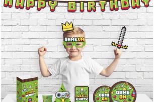 Пропсове за забавни снимки и декорация  Геймърски Рожден Ден /Майнкрафт/ Game On, 10 бр комплект /Gd/