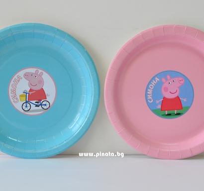 Персонализирана хартиена парти чинийка Пепа Пиг