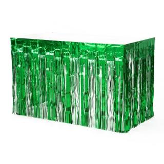 Ресни, завеса за декорация на маса /ПВЦ/ лъскави, цвят зелен 70х300см