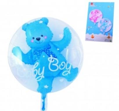 Балон с мече бебе момче 2 в 1 /син/, 56 см