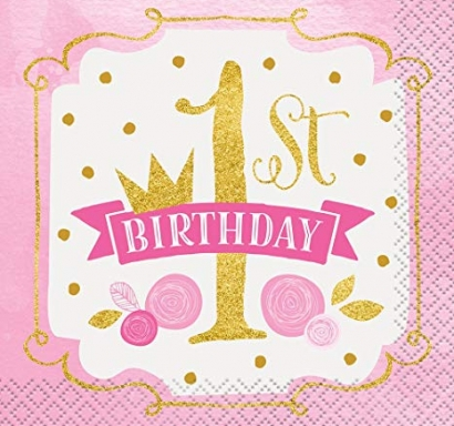 Парти салфетки Първи Рожден Ден в златно и розово 16 бр в пакет, First Birthday