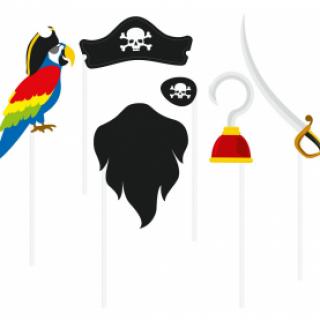 Пропсове за забавни снимки и декорация Пират, 6 бр комплект /Gd/