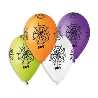 Балон с печат Паяци Хелоуин, 30 см, микс цветове, 6 бр опаковка