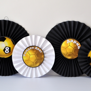 Украса за парти футбол златна топка ветрила 4 бр.