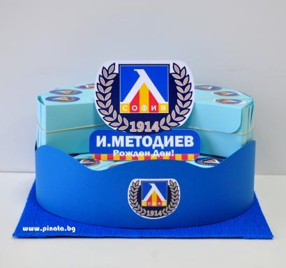 Хартиена торта с тематична декорация и персонализация Левски 1914