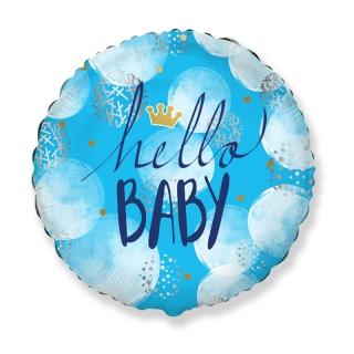 Фолиев балон с текст Hello Baby, бебе момче, 45 см диаметър