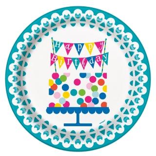 Хартиена парти чинийка Рожден Ден Конфети торта 23 см, / Confetti Cake