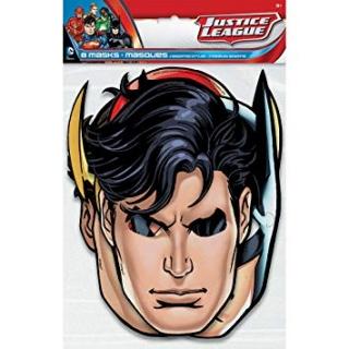 Парти маски Лигата на Справедливостта / Justice League, 8 бр. пакет, лицензирани