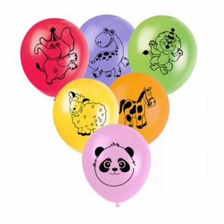 Комплект 10 бр. балони с печат животни - Лъв, слон, овца, панда, зебра, динозавър, микс цветове