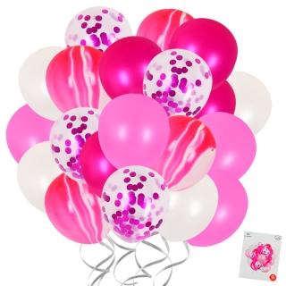 Комплект 20 бр. латексови балони с блестящи конфети, цвят розов, червен мрамор и бял