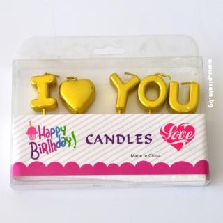 Свещички букви за рожден ден с текст I LOVE YOU, златни