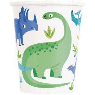 Хартиена парти чашка 250 мл Динозаври /  Blue and Green Dinosaur, 8 бр. в опаковка