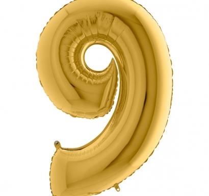 Фолиен балон цифра 9 цвят злато - 102 см височина /40