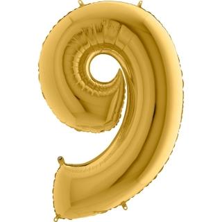"""Фолиен балон цифра 9 цвят злато - 102 см височина /40""""/"""