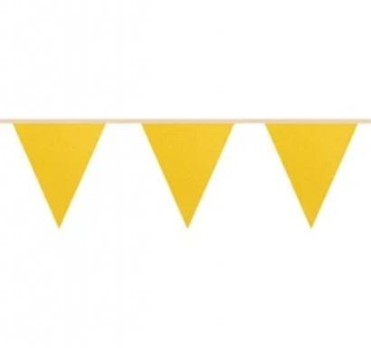 Банер гирлянд за декорация,  3,0 м. дължина, 12 бр. златни брокатени триъгълни флагчета