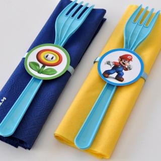 Парти комплект салфетка и вилица Супер Марио