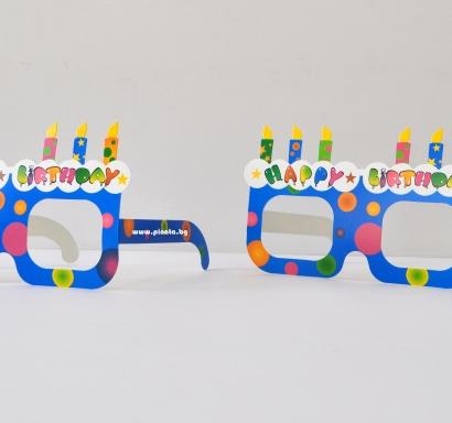 Парти очила Happy Birthday с разноцветни свещички, 12 бр. в пакет