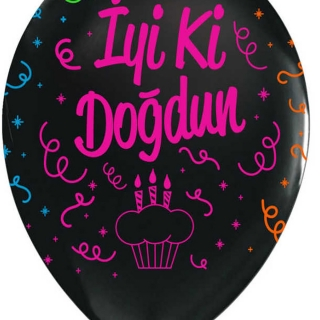 Балон с цветен неонов печат BALON BASKILI ÇEPEÇEVRE FLORESAN SİYAH İYİKİ DOĞDUN , 30 см, черен, 6бр. пакет