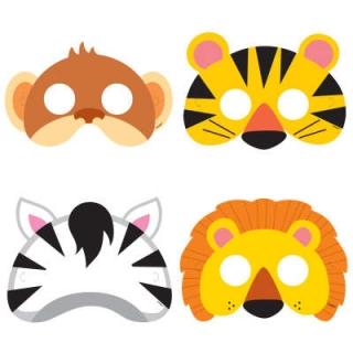 Парти маски Животни, сафари, джунгла, /лъв, зебра, маймуна, тигър/, 8 бр. в пакет