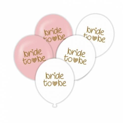 Балон с печат Bride To Be, диаметър 30 см, 5 бр. в пакет микс цветове