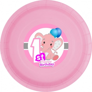 Хартиена парти чинийка  Слонче Първи рожден ден момиче цвят розов / First Birthday Elephant, 23 см. диаметър, 8 бр. в опаковка