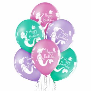 Комплект 6 бр. премиум балони с печат Русалка Happy Birthday / Mermaid, микс пастелни цветове Belbal /Gd/