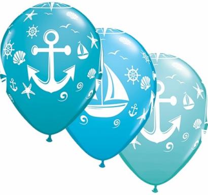Балон Морска тема, кораб, моряк, котва / Sailboat and Anchor - 30 см. 5 бр. в опаковка, Qualatex /Gd/