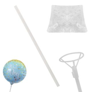 Комплект пръчка /стик/ и държач  за фолиев балон, прозрачна