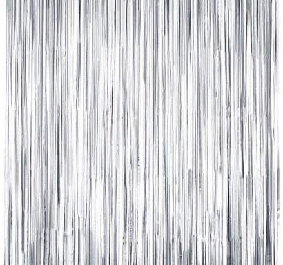 Ресни за декорация  /ПВЦ/ лъскави, цвят сребро 100х220см