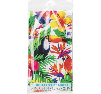Покривка за еднократна употреба, Хавайско тропическо парти 137х213 см, Palm Tropical Luau