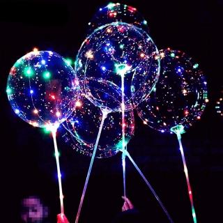Комплект Светещ Лед Бобо Балон 45см. диаметър, с включена светеща лед лента, пвц пръчка и батерии