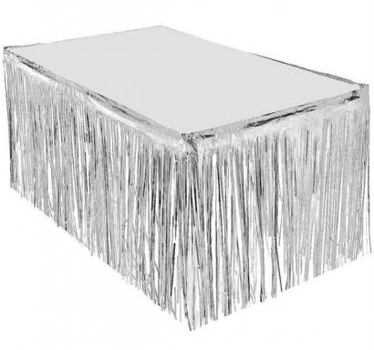 Ресни, завеса за декорация на маса /ПВЦ/ лъскави, цвят сребро 70х300см