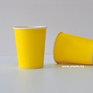 Хартиена парти чашка, 240 мл жълта